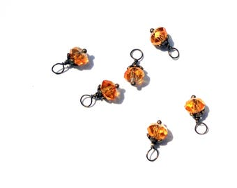 6PC. Amber Rose AB Austrian Crystal Bead Charms//Handmade Bead Charms// Bead Dangle Adorned with Antique Bronze Tone Plated Accent