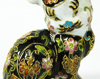 Vintage Black Cloisonne Copper Brass Enamel Animal Persian Cat Figurine Statue,Floral,Collection Decoration,Chinese Traditional Handicraft