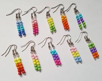 Rainbow beaded earrings, Beaded earrings, Rainbow, Beads, Dangle earrings, Gifts for girls, Colourful earrings, Bright earrings