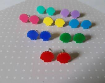 Seashell earrings, Shell earrings, Mermaid earrings, Cute earrings, Kawaii earrings, Earring studs, Acrylic earrings, Seashell, Mermaid