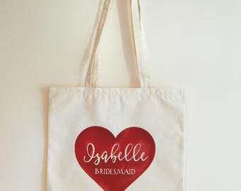 Personalised Heart Name & Title Canvas Tote Bag