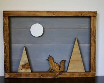 Fox in the Mountains Wood Wall Art, Wilderness Nursery, Nursery Art, Rustic Woodland Wall Hanging, Large Wood Wall Art, Mountain Nursery Art