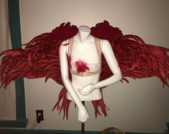 VALENTINEs DAY 100% REAL FEATHERS/ Red Angel Wings/ Adriana Lima inspired