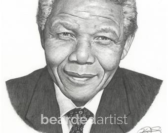 "8.5x11"" OR 11x17"" Print of Nelson Mandela with Brave Man Quote"