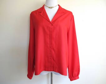 Vintage Red Blouse, XL 70s Shirt, 1970s Clothing