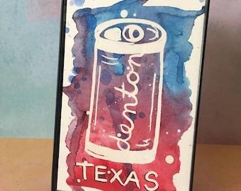 Denton Texas watercolor beer can splash painting