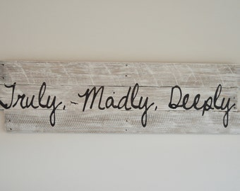 bedroom wall decor truly madly deeply sign rustic bedroom decor rustic