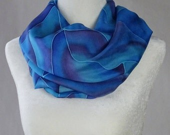 Hand painted blue silk scarf, royal blue silk scarf, navy blue scarf, sea silk scarf, handmade, handpainted blue silk scarf.