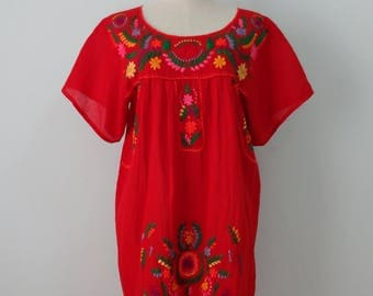 Mexican Hand Embroidered Short Dress, Oaxacan Dress, Mexican Embroidery
