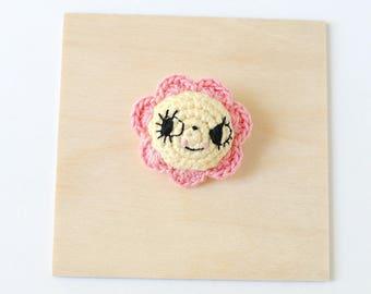 Pink and Yellow Flower Crochet Brooch   Handmade Crochet Pin, Handmade Brooch, Flower Brooch, Flower Pin, Pin Collector, Yarn Brooch