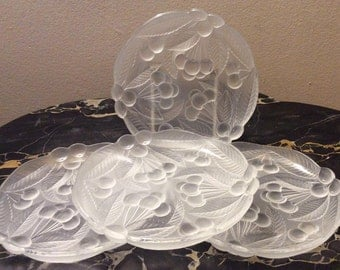Mikasa Bountiful Pattern Crystal Clear Frosted Salad Plates Set Of 4