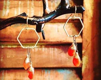 Carnelian Hexagon Earrings
