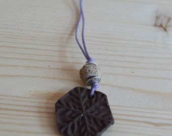 Snowflake ceramic pendant necklace