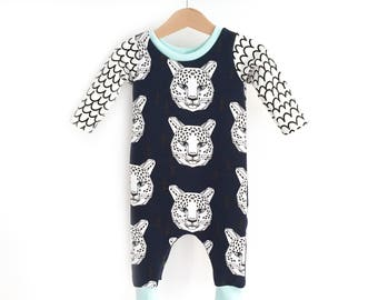 LEOPARD - harem romper in sweatshirt, coverall romper, baby boy romper - unisex baby clothes
