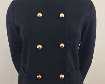 Vintage Liz Claiborne New York Black Double Breasted Jacket/Military Style with Mandarin (High) Collar and Gold Buttons /Size Medium
