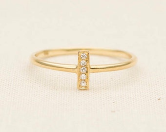 Solid 14K Gold Diamond Bar Micro Pave Wedding Band Stacking Stackable Rings AD1216