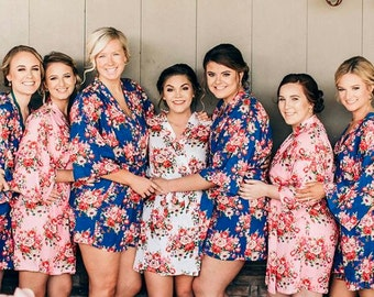 Wedding Robes for Bridesmaids, Floral Bridesmaid Robes, Flower Girl Robe, Bridal Robes***Discount for Multi Orders, Please message us**