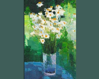 Chamomile Painting Original Oil Painting Still Life Wall Decor Art Contemporary Art Floral Painting Flowers Living Room Art Gift