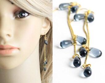 gray wedding earrings gold jewelry drop earrings bridesmaids earrings dangle jewelry gifts wife romantic gifts grey bridal earrings w152