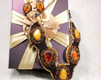amber necklace statement jewelry big necklace orange necklace brown jewelry anniversary gift wife  OOAK necklace special gift sterling BJ6