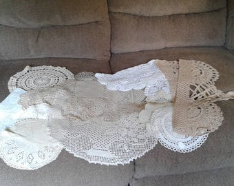 Lot of 17 Crocheted Doilies