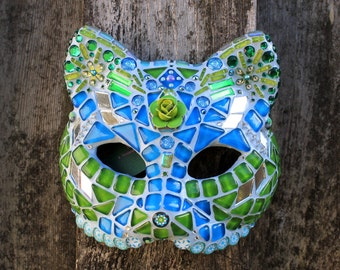 Glam Cat #4 - Flower Child - Mosaic Wall Mask