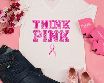 Think Pink V-Neck Graphic Tee..Breast Cancer Awareness Shirt..Relay For Life..Pinktober