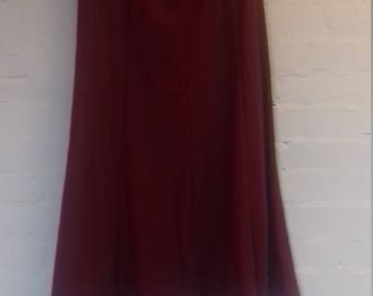 90's burgundy flared long skirt by Rowlands - size 10/12