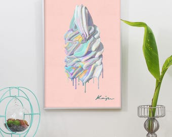 Melting Ice Cream Digital Oil Graphic Print