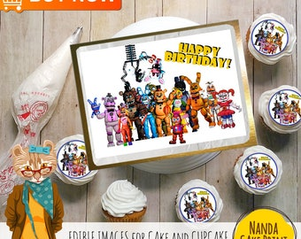 Five Nights at Freddy's Personalized Party Edible Cake image. Cake Topper. Baking Supplies