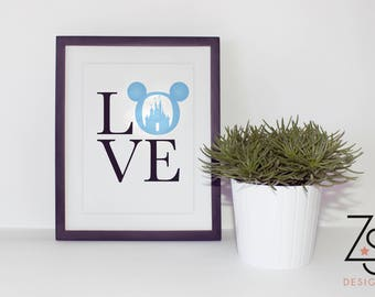 Love Disney Print - A4 - Mickey ears, Cinderella Castle. Happily Ever After.