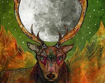 THE SACRED UNION 8x11 Fine Art Print // Deer Illustration, Cernunnos Art, Beltane, Moon, Fire, Whimsical Art, Pagan Decor, Deer Art Print