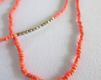 Orange Seed Bead Necklace, Vintage Seed Bead Necklace, Gold Seed Bead, Orange Seed Bead, Vintage, Necklace, Tiki, Tropical, Jewelry, Tribal