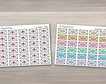 Envelope Shaped Planner Stickers || 30 Stickers