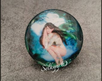 Glass dome 25mm squatting fairy magical 00001 round cabochon