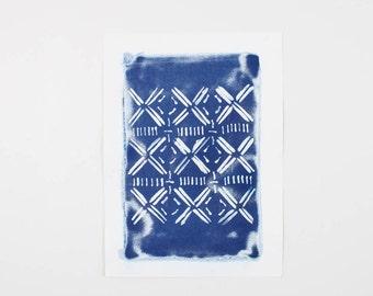 Handmade Art Print / Large African Mudcloth Inspired Original Cyanotype Photogram Art / Blue / Indigo Print / Tribal Mud Cloth Design