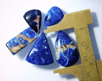 5 Pcs. Wholesale Price! Natural Sodalite cabochon gemstone, Blue sodalite loose gemstone, Sodalite gemstone for jewellery 43 Cts. #5783N