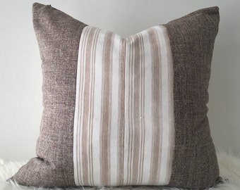 Amo - Brown and White Striped Vintage African Cloth Aso-Oke Pillow, High Quality Italian Linen Back Fabric, Mud Cloth Style