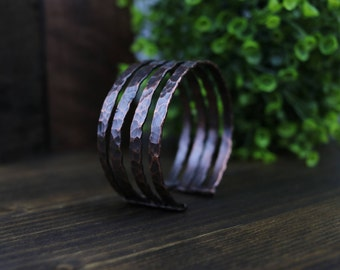 Hammered Copper Four-Banded Cuff Bracelet