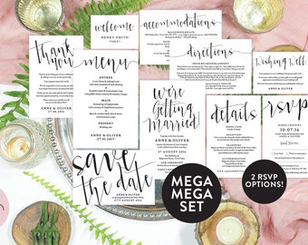 Black and white wedding suite template, Editable pdf invitation, Wedding invitation template rustic wedding invitation, Rustic wedding suite