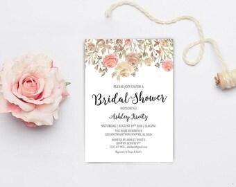 Watercolor Bridal Shower invitation, Bridal shower invitation, Rustic bridal shower invitation, Floral Bridal Shower - US_BI2303