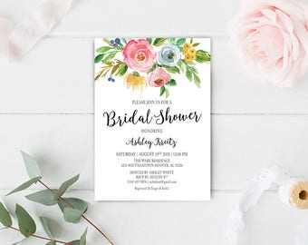 Watercolor Bridal Shower invitation, Bridal shower invitation, Rustic bridal shower invitation, Floral Bridal Shower - US_BI1205