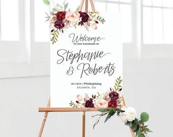 Wedding sign, Wedding Welcome Sign, Navy blue Wedding sign, watercolor sign, Wedding Decor, wedding decorations, Bohemian wedding sign