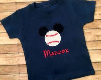 Baseball Shirt, Toddler Baseball Shirt, Baby Baseball Shirt, Boys Baseball Shirt, Mouse head Baseball, Personalized Baseball Shirt, kids