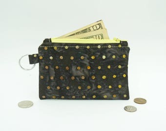 Polka Dotted Zipper Pouch, Small Zip Wallet, Polka Dot Lanyard Wallet, Black and Yellow Change Purse, Small Coin Purse, Black Change Wallet