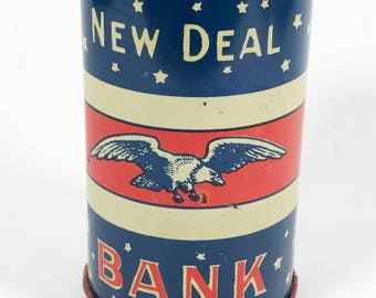 Vintage Chein 1930s New Deal Tin Bank