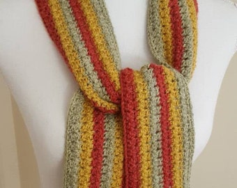 Narrow Crochet Scarf in Red, Gold and Green, Fringed Crochet Scarf