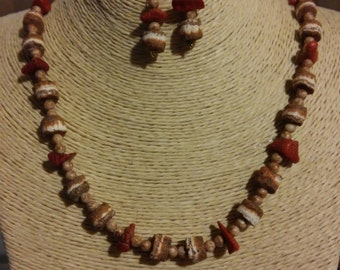 Lava Bead Necklace & Earring Set