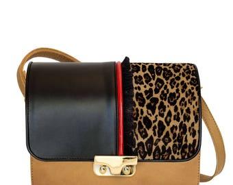 Beige Leather Minibag shoulder bag with flap Fil Rouge-beige leather women's handbag-handmade leather handbag-Coral bags
