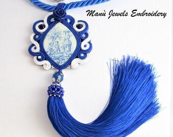 soutache necklace tassel blue, soutache jewelry, soutache necklace, soutache pendant, soutache jewels, soutache embroidery, tassel necklace